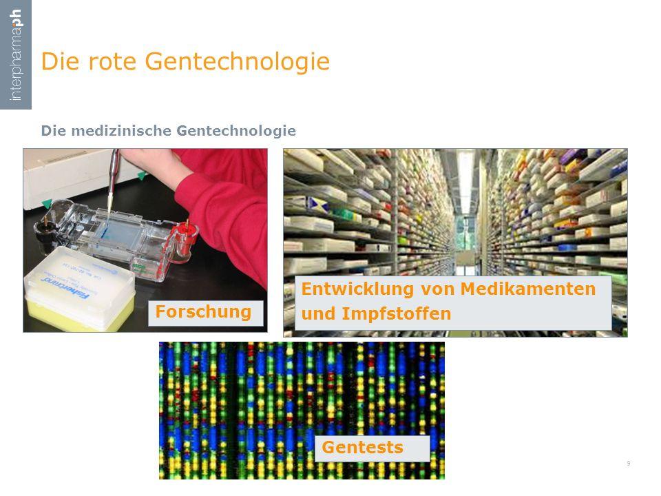 Die medizinische Gentechnologie Die rote Gentechnologie 9 Forschung Entwicklung von Medikamenten und Impfstoffen Gentests