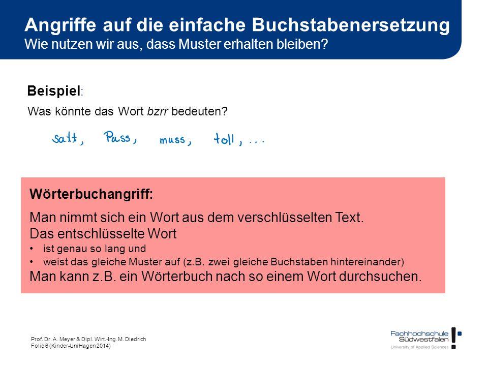 Prof. Dr. A. Meyer & Dipl. Wirt.-Ing. M. Diedrich Folie 6 (Kinder-Uni Hagen 2014) Wörterbuchangriff: Man nimmt sich ein Wort aus dem verschlüsselten T
