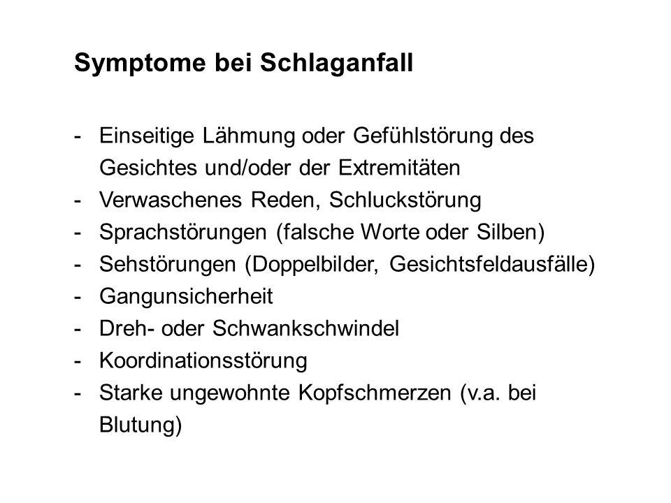 Symptome bei Schlaganfall -Einseitige Lähmung oder Gefühlstörung des Gesichtes und/oder der Extremitäten -Verwaschenes Reden, Schluckstörung -Sprachst