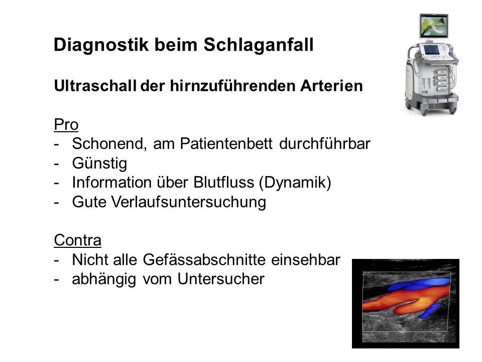 Diagnostik beim Schlaganfall Ultraschall der hirnzuführenden Arterien Pro -Schonend, am Patientenbett durchführbar -Günstig -Information über Blutflus