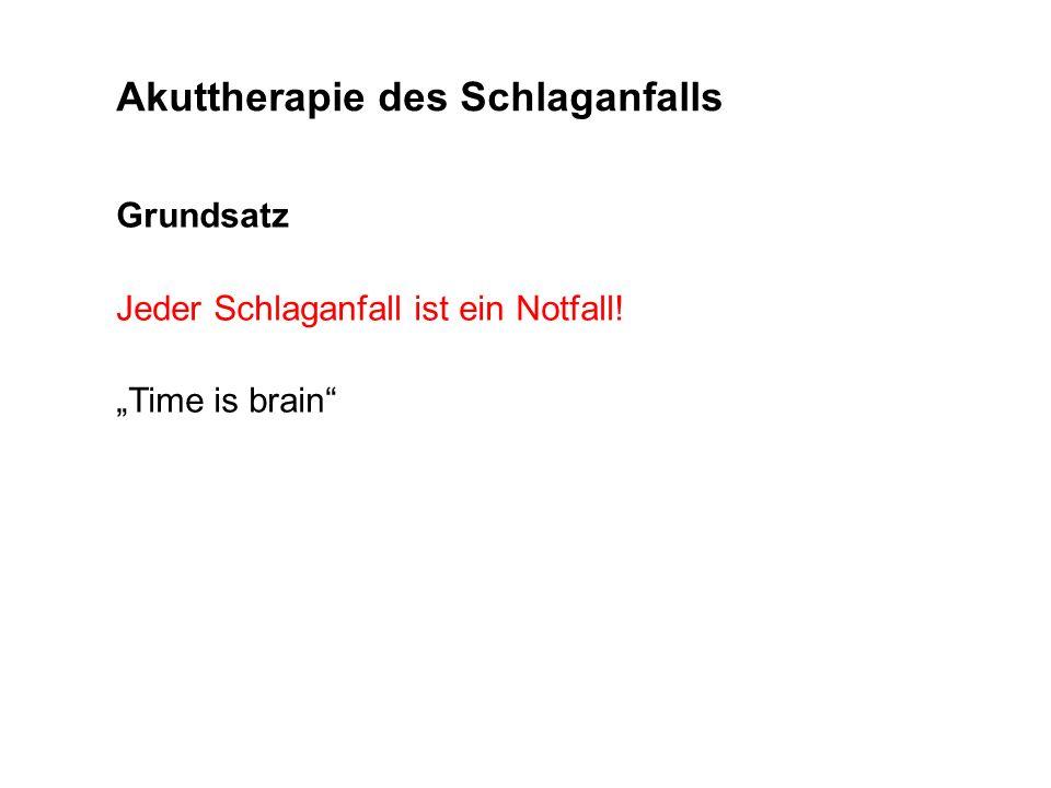 Grundsatz Jeder Schlaganfall ist ein Notfall! Time is brain