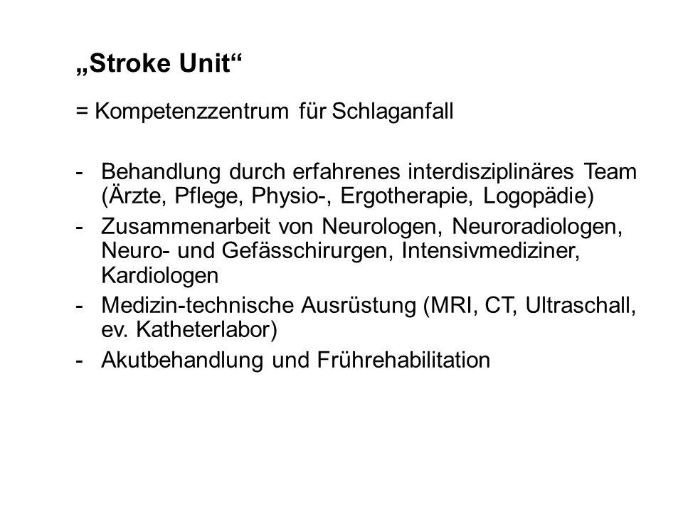 Stroke Unit = Kompetenzzentrum für Schlaganfall -Behandlung durch erfahrenes interdisziplinäres Team (Ärzte, Pflege, Physio-, Ergotherapie, Logopädie)