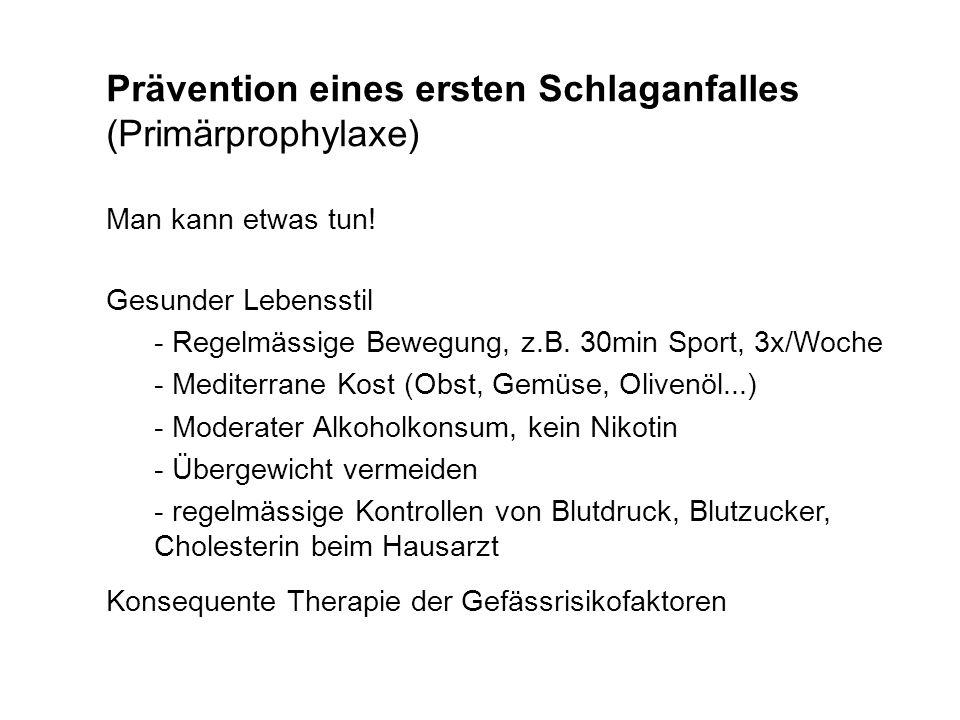 Prävention eines ersten Schlaganfalles (Primärprophylaxe) Man kann etwas tun! Gesunder Lebensstil - Regelmässige Bewegung, z.B. 30min Sport, 3x/Woche