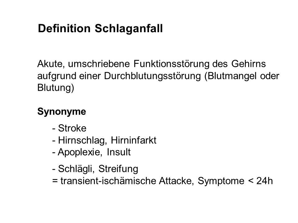 Definition Schlaganfall Akute, umschriebene Funktionsstörung des Gehirns aufgrund einer Durchblutungsstörung (Blutmangel oder Blutung) Synonyme - Stro