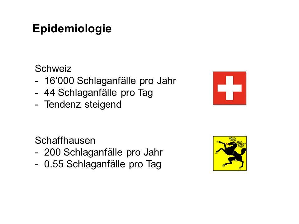 Epidemiologie Schweiz -16000 Schlaganfälle pro Jahr -44 Schlaganfälle pro Tag -Tendenz steigend Schaffhausen -200 Schlaganfälle pro Jahr -0.55 Schlaga