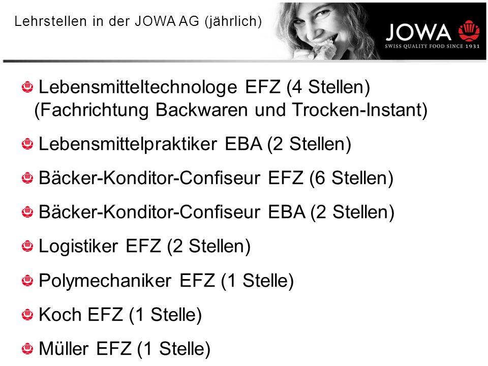 5 Lehrstellen in der JOWA AG (jährlich) Lebensmitteltechnologe EFZ (4 Stellen) (Fachrichtung Backwaren und Trocken-Instant) Lebensmittelpraktiker EBA