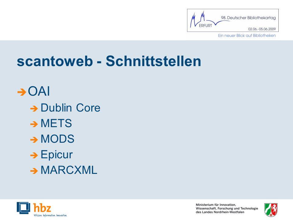 scantoweb - Schnittstellen OAI Dublin Core METS MODS Epicur MARCXML
