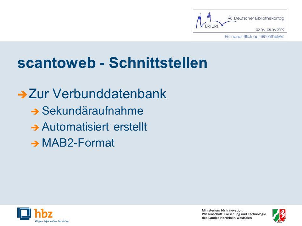 scantoweb - Schnittstellen Zur Verbunddatenbank Sekundäraufnahme Automatisiert erstellt MAB2-Format