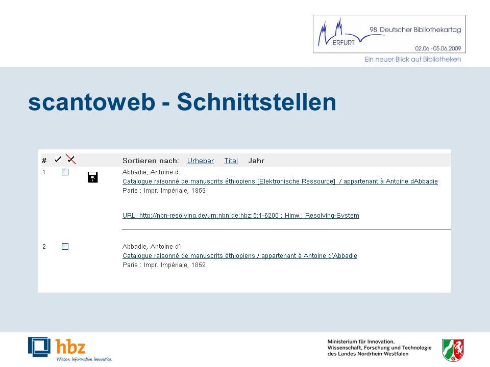 scantoweb - Schnittstellen