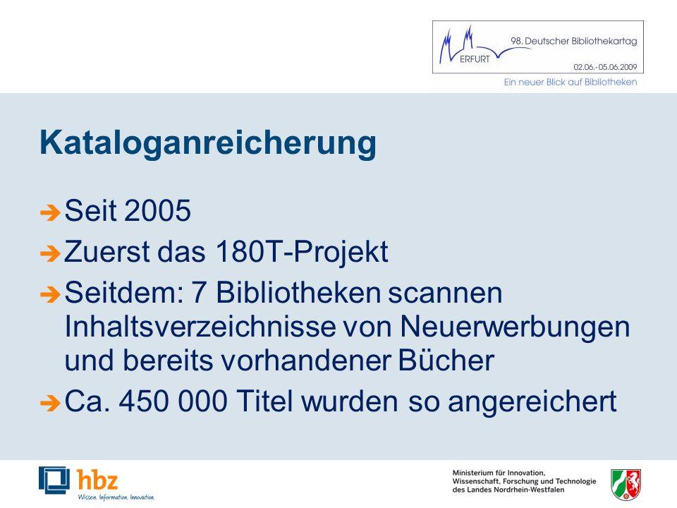 Kataloganreicherung Seit 2005 Zuerst das 180T-Projekt Seitdem: 7 Bibliotheken scannen Inhaltsverzeichnisse von Neuerwerbungen und bereits vorhandener Bücher Ca.