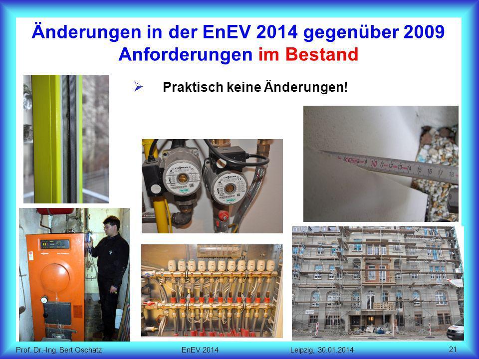 Prof.Dr.-Ing. Bert Oschatz EnEV 2014 Leipzig, 30.01.2014 Praktisch keine Änderungen.