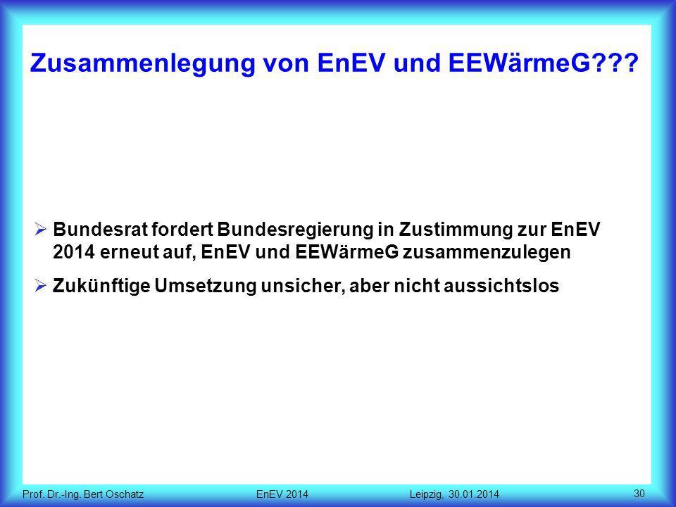 Prof.Dr.-Ing. Bert Oschatz EnEV 2014 Leipzig, 30.01.2014 Zusammenlegung von EnEV und EEWärmeG??.