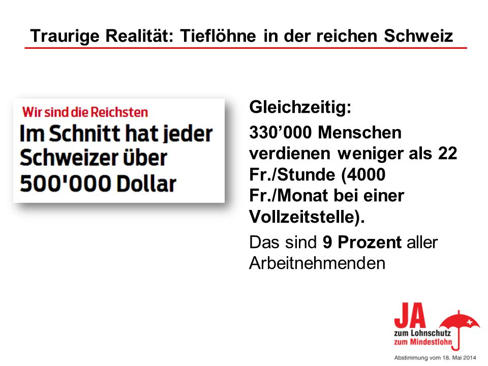 Traurige Realität: Tieflöhne in der reichen Schweiz Gleichzeitig: 330000 Menschen verdienen weniger als 22 Fr./Stunde (4000 Fr./Monat bei einer Vollze