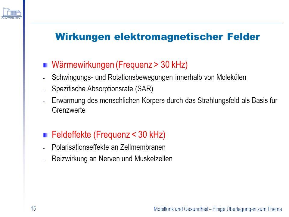 Mobilfunk und Gesundheit – Einige Überlegungen zum Thema 15 Wirkungen elektromagnetischer Felder Wärmewirkungen (Frequenz > 30 kHz) - Schwingungs- und