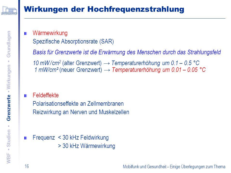 Mobilfunk und Gesundheit – Einige Überlegungen zum Thema 16 Wirkungen der Hochfrequenzstrahlung Wärmewirkung Spezifische Absorptionsrate (SAR) Basis f