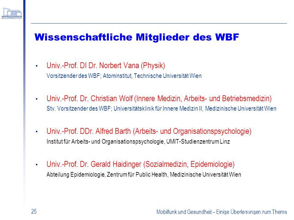 Mobilfunk und Gesundheit – Einige Überlegungen zum Thema 25 Wissenschaftliche Mitglieder des WBF Univ.-Prof. DI Dr. Norbert Vana (Physik) Vorsitzender