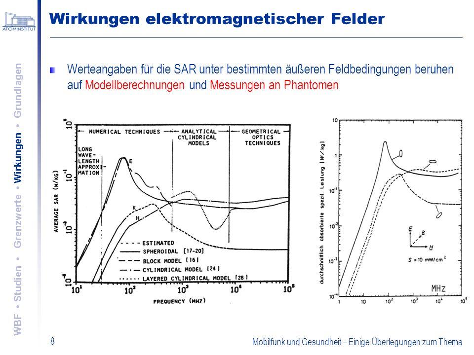 Mobilfunk und Gesundheit – Einige Überlegungen zum Thema 8 Wirkungen elektromagnetischer Felder Werteangaben für die SAR unter bestimmten äußeren Feld
