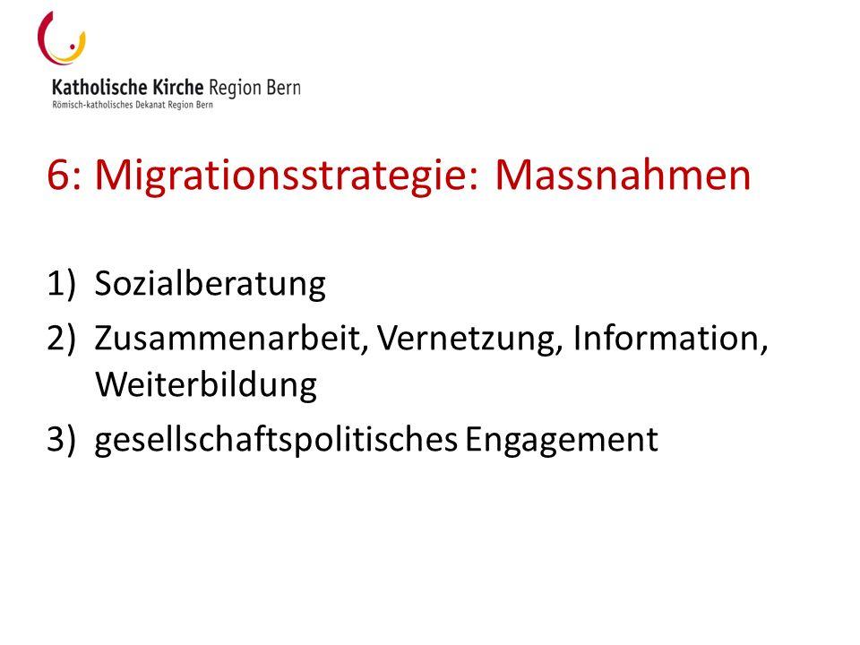 6: Migrationsstrategie: Massnahmen 1)Sozialberatung 2)Zusammenarbeit, Vernetzung, Information, Weiterbildung 3)gesellschaftspolitisches Engagement