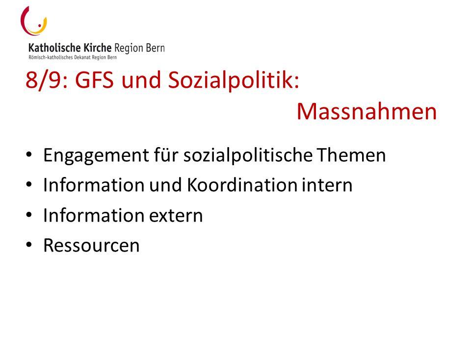 8/9: GFS und Sozialpolitik: Massnahmen Engagement für sozialpolitische Themen Information und Koordination intern Information extern Ressourcen
