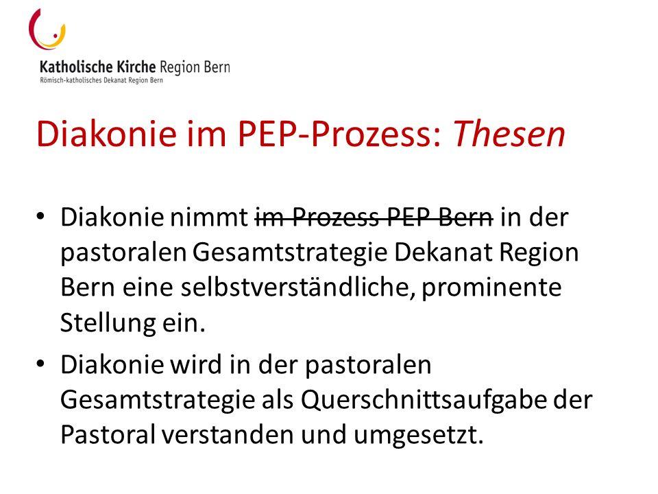 Diakonie im PEP-Prozess: Thesen Diakonie nimmt im Prozess PEP Bern in der pastoralen Gesamtstrategie Dekanat Region Bern eine selbstverständliche, pro