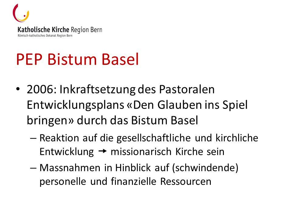 PEP Bistum Basel 2006: Inkraftsetzung des Pastoralen Entwicklungsplans «Den Glauben ins Spiel bringen» durch das Bistum Basel – Reaktion auf die gesel