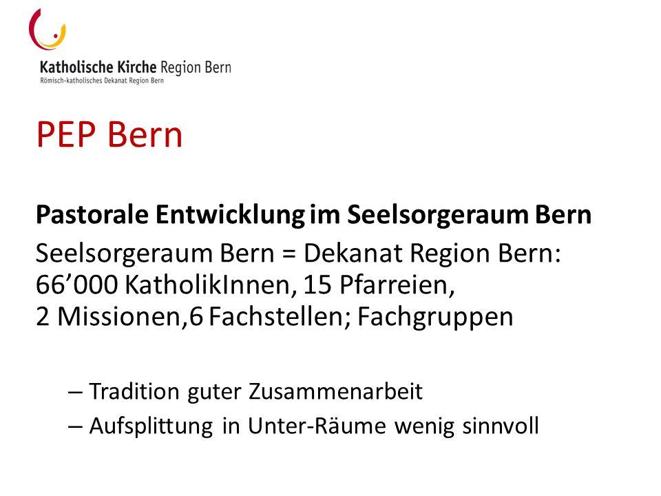 PEP Bern Pastorale Entwicklung im Seelsorgeraum Bern Seelsorgeraum Bern = Dekanat Region Bern: 66000 KatholikInnen, 15 Pfarreien, 2 Missionen,6 Fachst