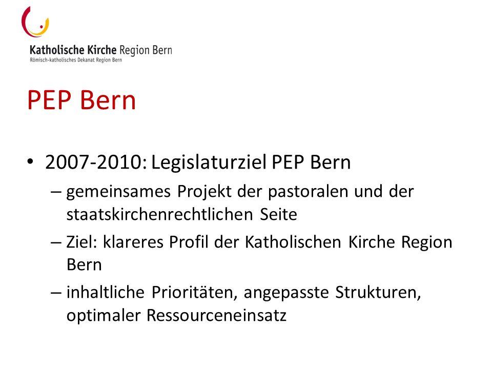 PEP Bern 2007-2010: Legislaturziel PEP Bern – gemeinsames Projekt der pastoralen und der staatskirchenrechtlichen Seite – Ziel: klareres Profil der Ka