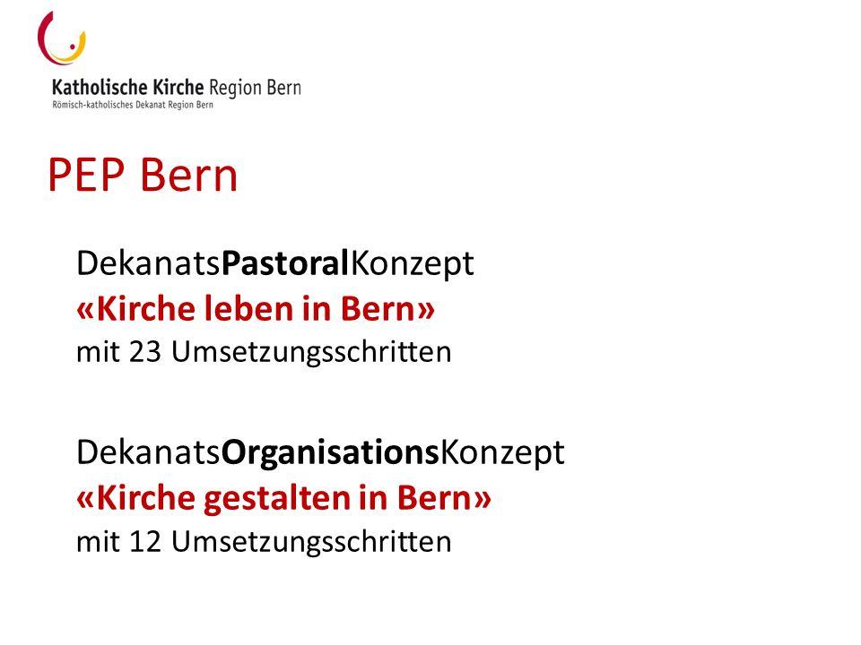 PEP Bern DekanatsPastoralKonzept «Kirche leben in Bern» mit 23 Umsetzungsschritten DekanatsOrganisationsKonzept «Kirche gestalten in Bern» mit 12 Umse