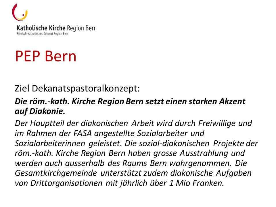 PEP Bern Ziel Dekanatspastoralkonzept: Die röm.-kath. Kirche Region Bern setzt einen starken Akzent auf Diakonie. Der Hauptteil der diakonischen Arbei