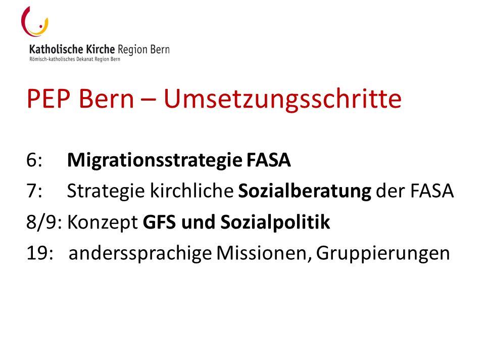 PEP Bern – Umsetzungsschritte 6: Migrationsstrategie FASA 7: Strategie kirchliche Sozialberatung der FASA 8/9: Konzept GFS und Sozialpolitik 19: ander