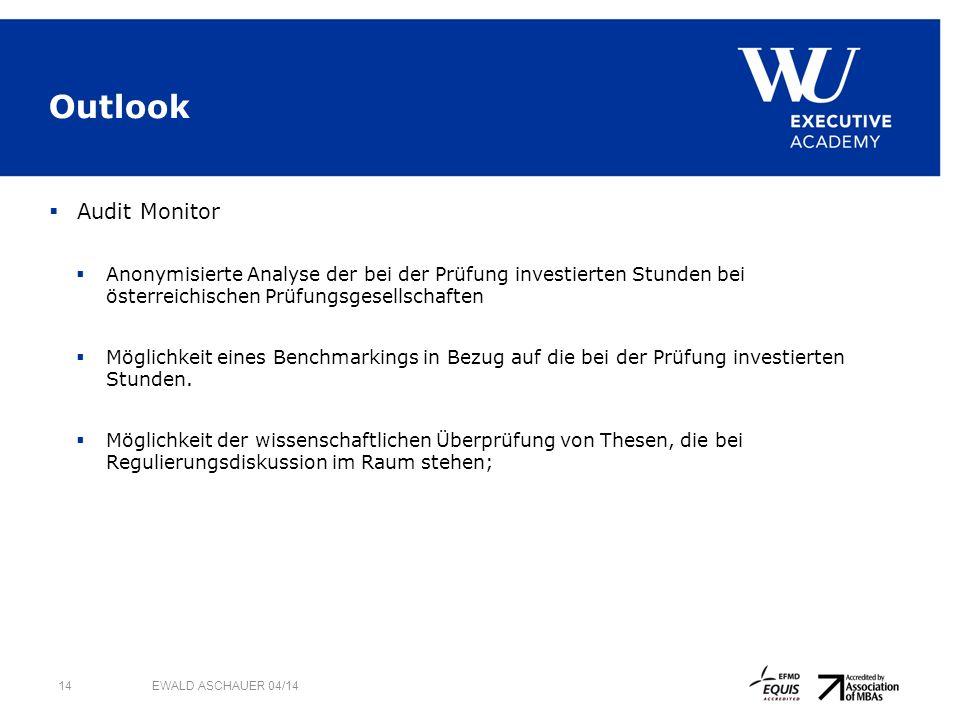 Outlook Audit Monitor Anonymisierte Analyse der bei der Prüfung investierten Stunden bei österreichischen Prüfungsgesellschaften Möglichkeit eines Benchmarkings in Bezug auf die bei der Prüfung investierten Stunden.