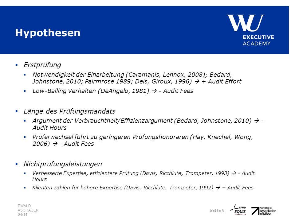 Hypothesen Erstprüfung Notwendigkeit der Einarbeitung (Caramanis, Lennox, 2008); Bedard, Johnstone, 2010; Palrmrose 1989; Deis, Giroux, 1996) + Audit Effort Low-Balling Verhalten (DeAngelo, 1981) - Audit Fees Länge des Prüfungsmandats Argument der Verbrauchtheit/Effizienzargument (Bedard, Johnstone, 2010) - Audit Hours Prüferwechsel führt zu geringeren Prüfungshonoraren (Hay, Knechel, Wong, 2006) - Audit Fees Nichtprüfungsleistungen Verbesserte Expertise, effizientere Prüfung (Davis, Ricchiute, Trompeter, 1993) - Audit Hours Klienten zahlen für höhere Expertise (Davis, Ricchiute, Trompeter, 1992) + Audit Fees EWALD ASCHAUER 04/14 SEITE 9