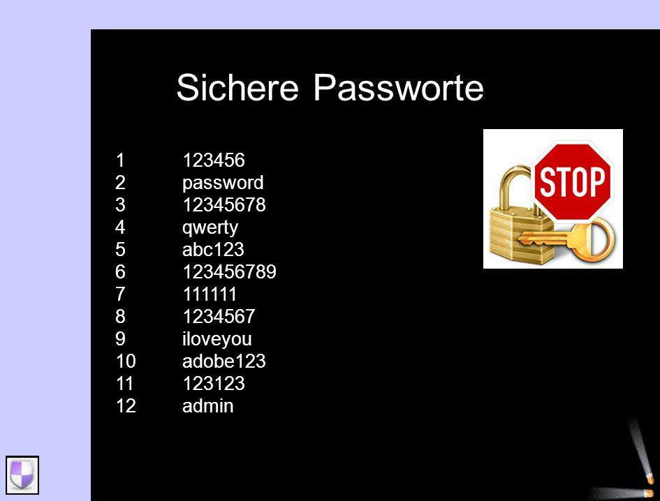 Sichere Passworte 1123456 2password 312345678 4qwerty 5abc123 6123456789 7111111 81234567 9iloveyou 10adobe123 11123123 12admin