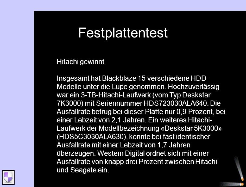 Festplattentest Hitachi gewinnt Insgesamt hat Blackblaze 15 verschiedene HDD- Modelle unter die Lupe genommen. Hochzuverlässig war ein 3-TB-Hitachi-La