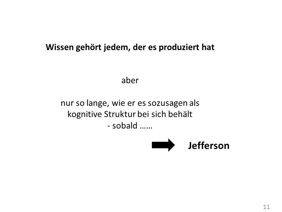 11 Wissen gehört jedem, der es produziert hat aber nur so lange, wie er es sozusagen als kognitive Struktur bei sich behält - sobald …… Jefferson