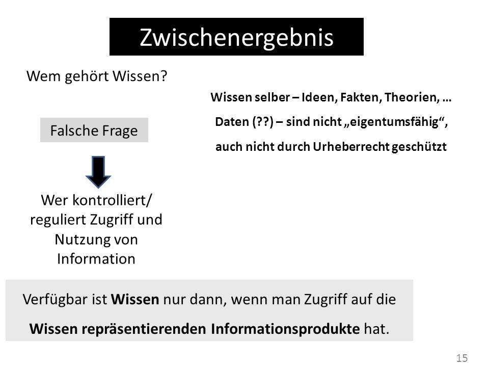 15 Zwischenergebnis Wem gehört Wissen? Wer kontrolliert/ reguliert Zugriff und Nutzung von Information Wissen selber – Ideen, Fakten, Theorien, … Date