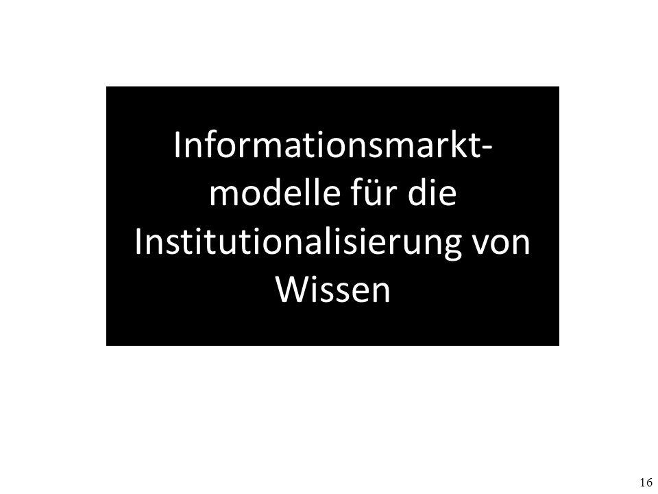 16 Informationsmarkt- modelle für die Institutionalisierung von Wissen