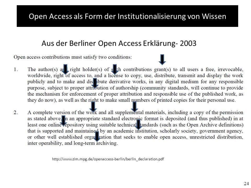 24 Aus der Berliner Open Access Erklärung- 2003 http://www.zim.mpg.de/openaccess-berlin/berlin_declaration.pdf Open Access als Form der Institutionalisierung von Wissen