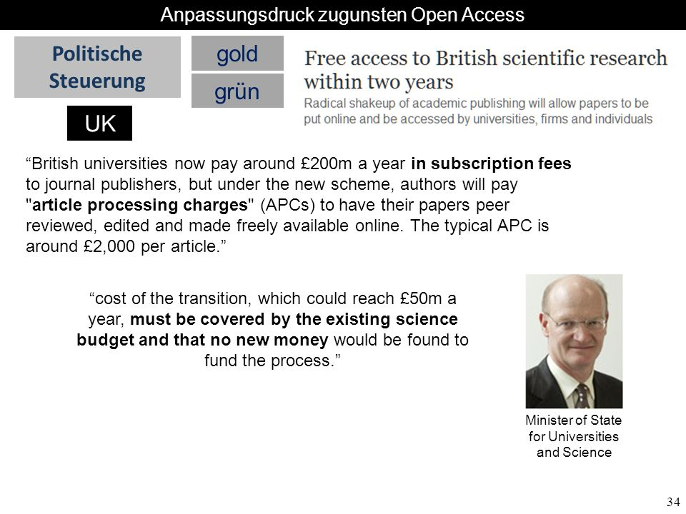 34 British universities now pay around £200m a year in subscription fees to journal publishers, but under the new scheme, authors will pay