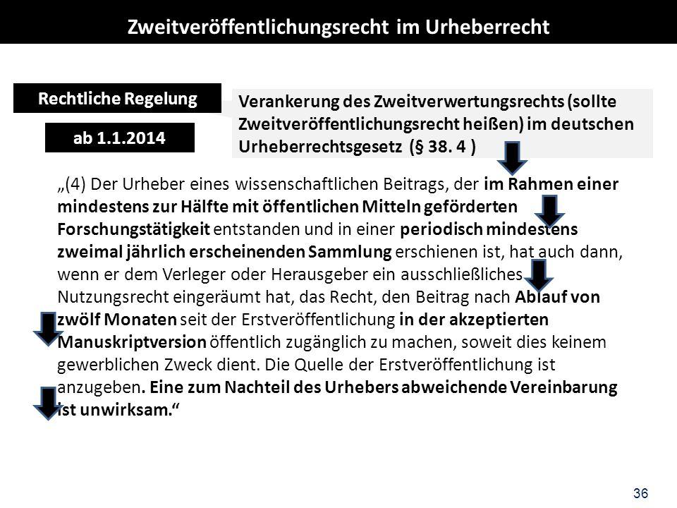 36 Verankerung des Zweitverwertungsrechts (sollte Zweitveröffentlichungsrecht heißen) im deutschen Urheberrechtsgesetz (§ 38. 4 ) ab 1.1.2014 (4) Der