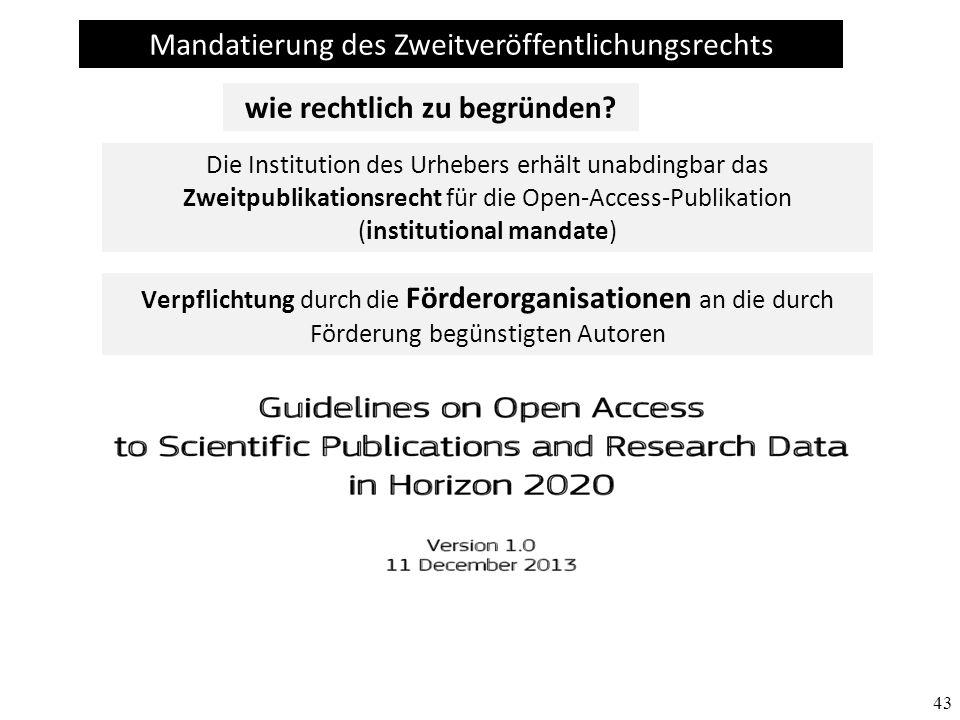 43 Mandatierung des Zweitveröffentlichungsrechts Die Institution des Urhebers erhält unabdingbar das Zweitpublikationsrecht für die Open-Access-Publik