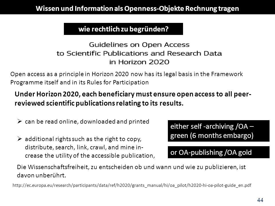 44 Wissen und Information als Openness-Objekte Rechnung tragen wie rechtlich zu begründen? Open access as a principle in Horizon 2020 now has its lega