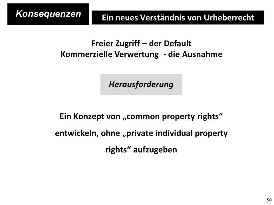 50 Ein neues Verständnis von Urheberrecht Freier Zugriff – der Default Kommerzielle Verwertung - die Ausnahme Ein Konzept von common property rights entwickeln, ohne private individual property rights aufzugeben Herausforderung Konsequenzen