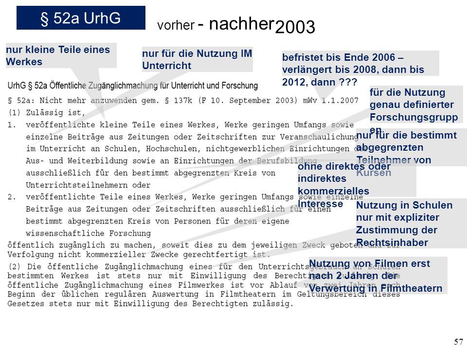 57 § 52a UrhG vorher - nachher 2003 nur kleine Teile eines Werkes nur für die Nutzung IM Unterricht nur für die bestimmt abgegrenzten Teilnehmer von K