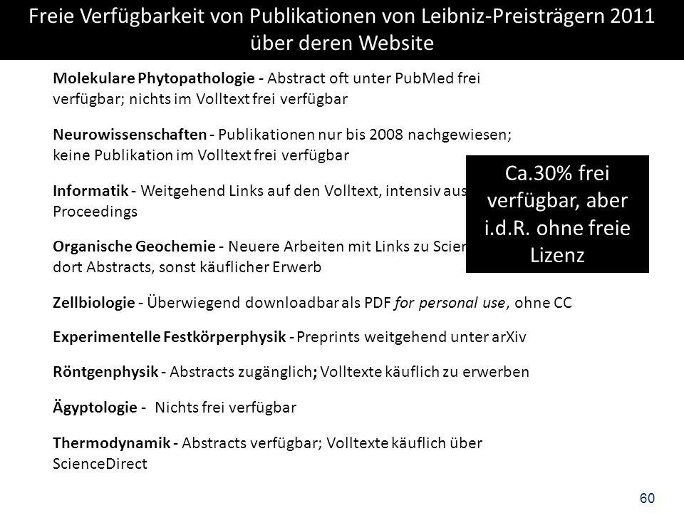 60 Neurowissenschaften - Publikationen nur bis 2008 nachgewiesen; keine Publikation im Volltext frei verfügbar Informatik - Weitgehend Links auf den V