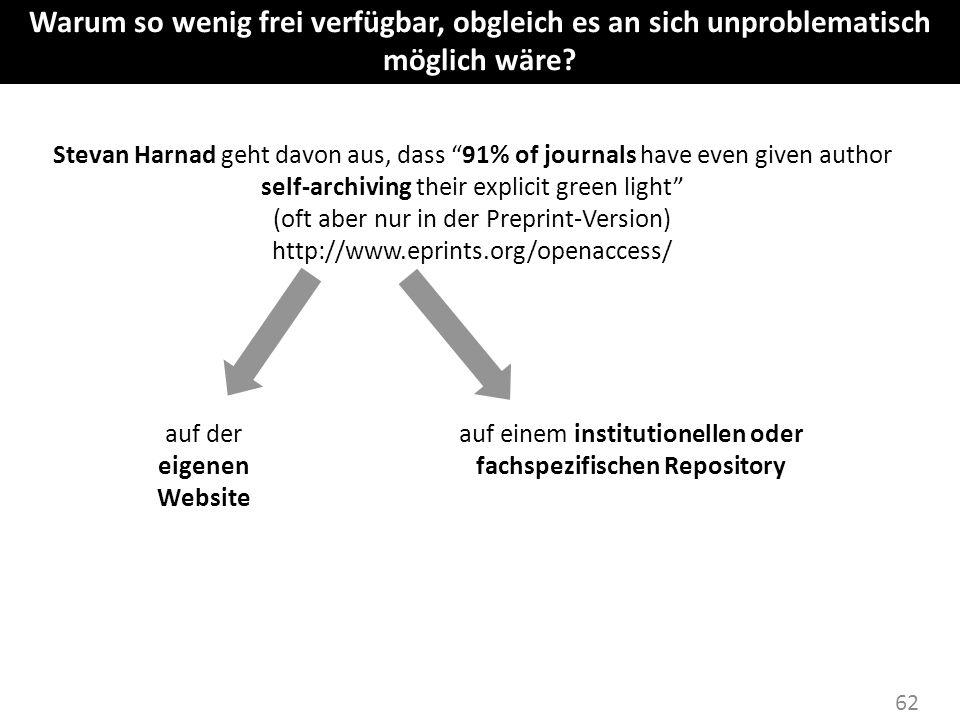 62 Stevan Harnad geht davon aus, dass 91% of journals have even given author self-archiving their explicit green light (oft aber nur in der Preprint-V