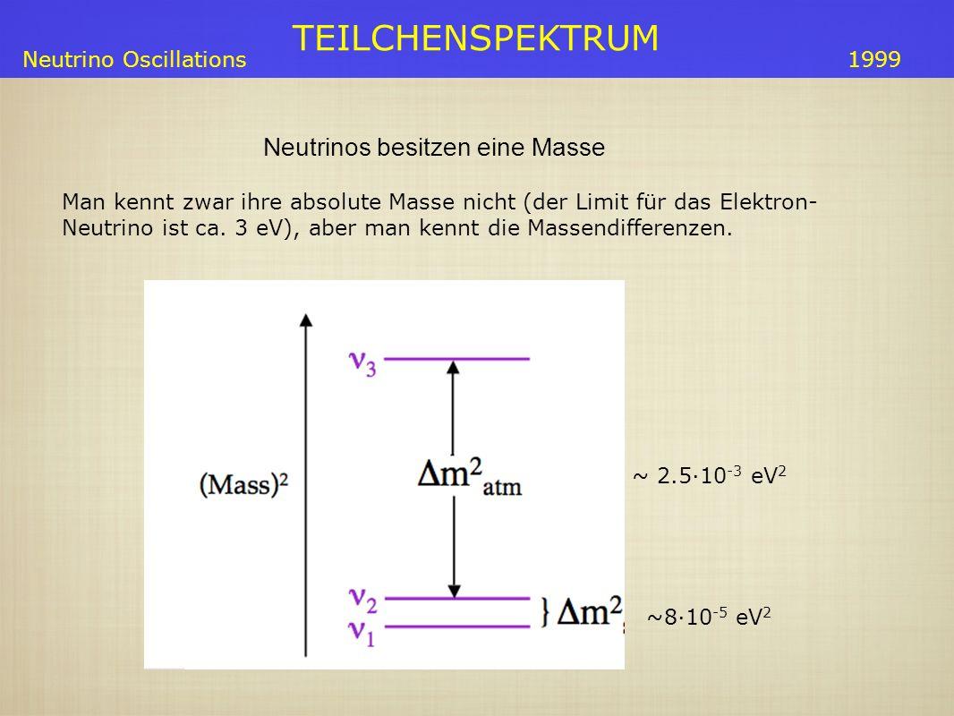 TEILCHENSPEKTRUM Neutrino Oscillations ~8·10 -5 eV 2 ~ 2.5·10 -3 eV 2 1999 Neutrinos besitzen eine Masse Man kennt zwar ihre absolute Masse nicht (der Limit für das Elektron- Neutrino ist ca.