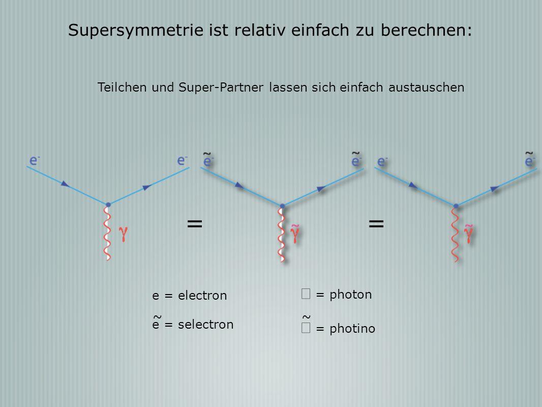 Supersymmetrie ist relativ einfach zu berechnen: == e = electron e = selectron ~ = photon = photino ~ Teilchen und Super-Partner lassen sich einfach austauschen