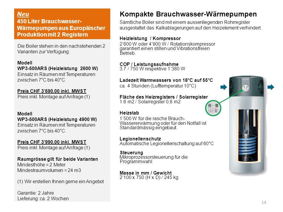 Neu 450 Liter Brauchwasser- Wärmepumpen aus Europäischer Produktion mit 2 Registern Kompakte Brauchwasser-Wärmepumpen Sämtliche Boiler sind mit einem