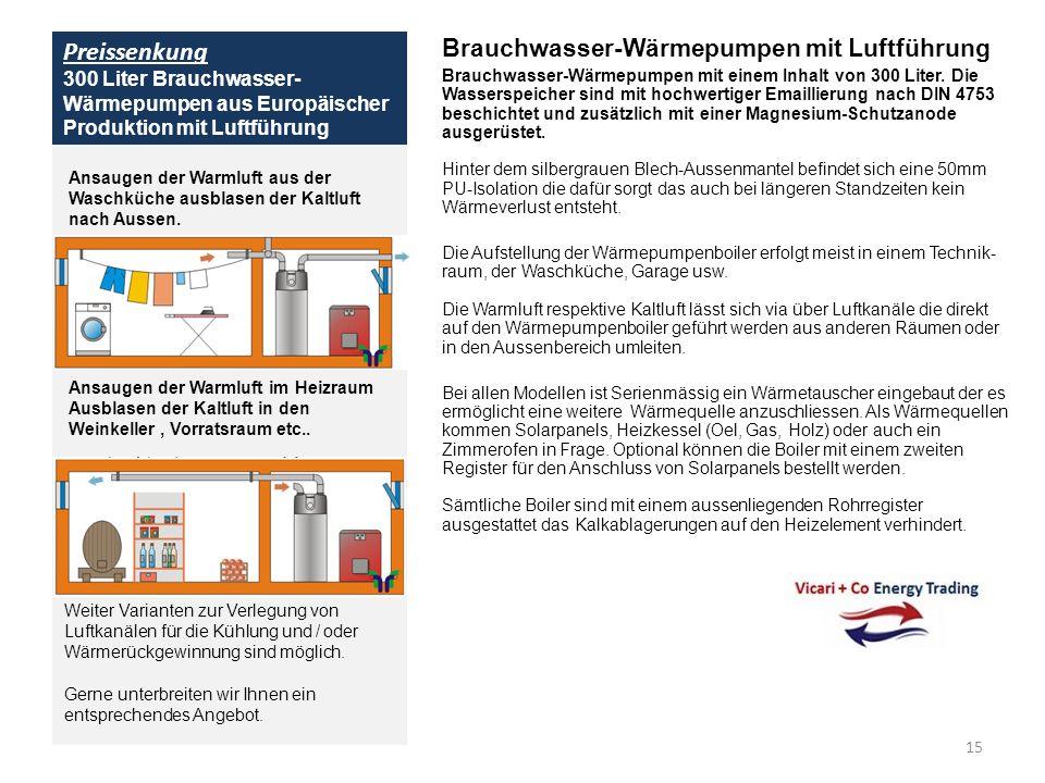 Preissenkung 300 Liter Brauchwasser- Wärmepumpen aus Europäischer Produktion mit Luftführung Brauchwasser-Wärmepumpen mit Luftführung Brauchwasser-Wär